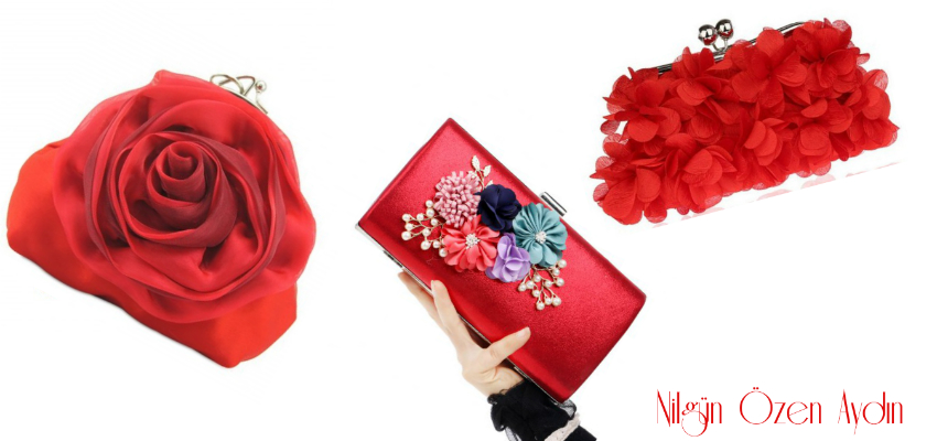 Floral Red Evening Bags