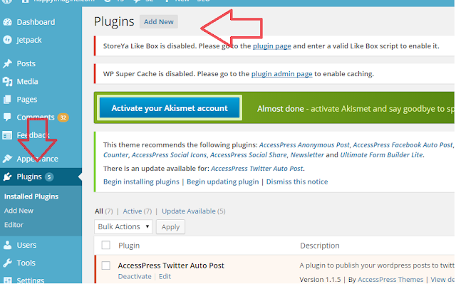Install Plugins for your Wordpress Site