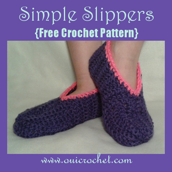 Free Crochet Pattern Easy Slippers : Oui Crochet: Childs Simple Slippers {Free Crochet Pattern}