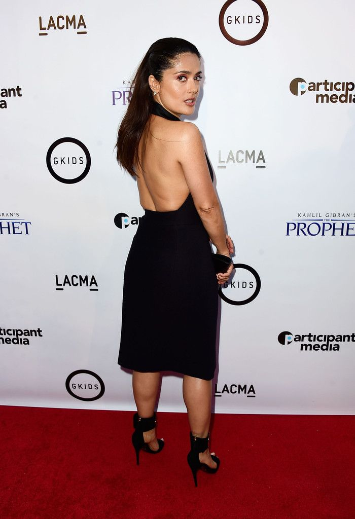 Salma Hayek in a backless dress at 'Khalil Gibran's The Prophet' LA Screening