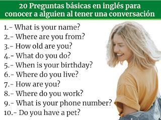 20 Preguntas basicas en ingles para conocer a alguien al tener una conversacion