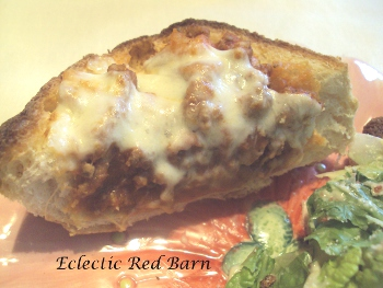 Eclectic Red Barn: Bolognaise Pizza Bread slice
