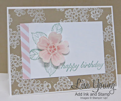 Stampin' Up! Birthday Blossoms stamp set. Pink flower on kraft background. handmade card by Lisa Young, Add Ink and Stamp