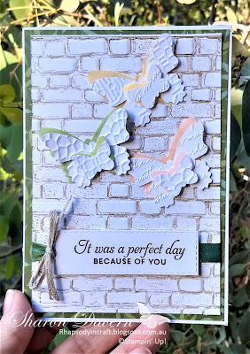 Butterfly wishes, Friendship card, Embossing Folders, Stampin' Up! Bricks and Mortar, Butterfly duet punch, Garden lane DSP