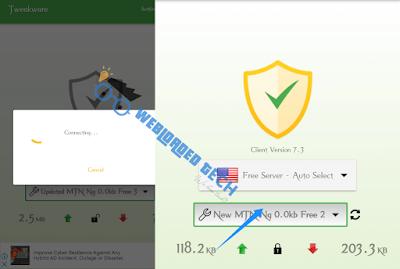 Tweakware VPN with MTN 0.00k Free Browsing Cheat 2020