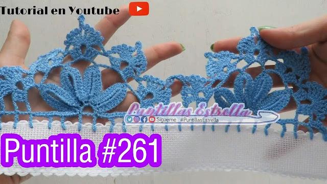 Puntilla Flor Celeste para Faldas y Vestidos Tejido a Crochet