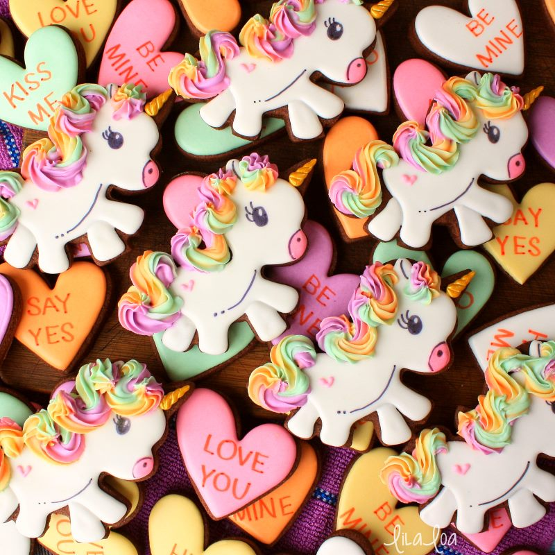 Rainbow haired unicorn decorated sugar cookies