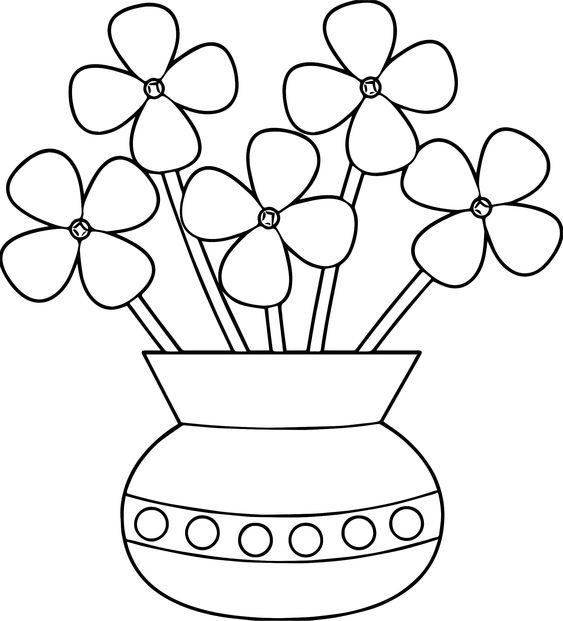 Tranh tô màu bình hoa đơn giản