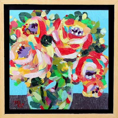 Flower painting by Pennsylvania artist Merrill Weber framed original acrylic on canvas 6 x 6 Celebration 119