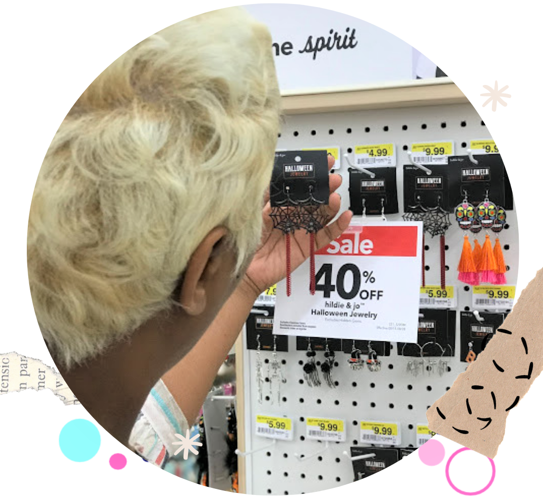 Image: Tangie Bell is looking for the sales at Joann's Craft store in Dallas Texas