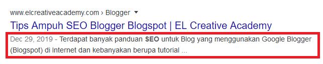 Meta Description pada hasil pencarian Google.