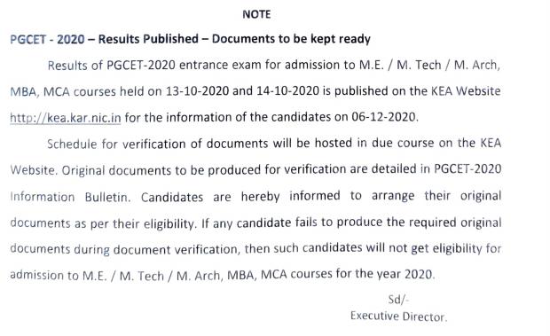 Karnataka PGCET 2020 Result notice