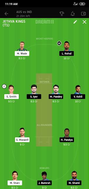 IND VS AUS 1st T20 Dream11 100% Winning Team