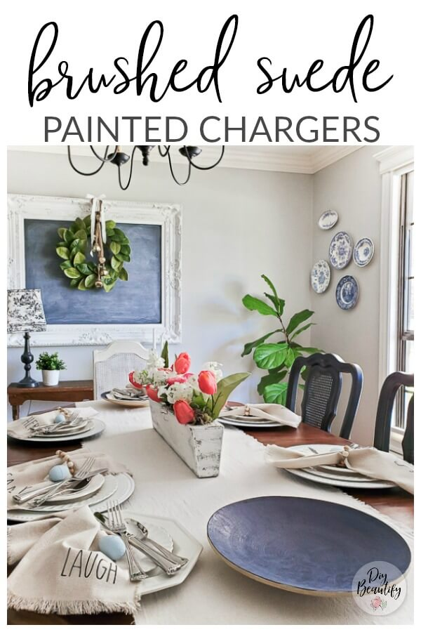 decorated table with faux suede painted chargers