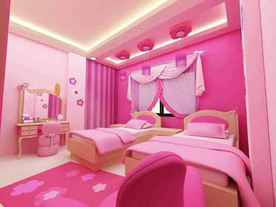 pink gingham walls and curtains; small children's bedroom