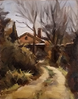 Landscape oil painting of a house with a pitched roof at the end of a driveway.