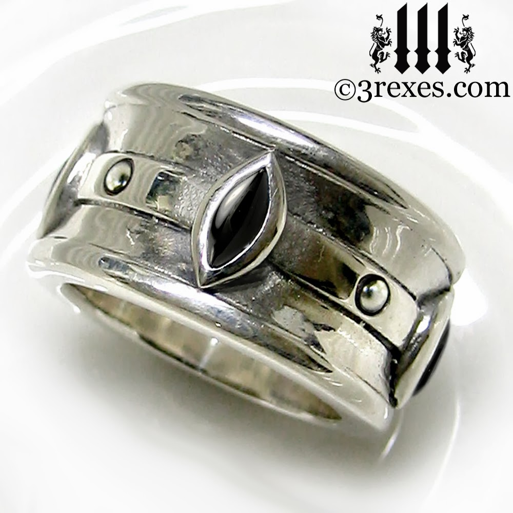 mens silver gothic wedding ring with black onyx