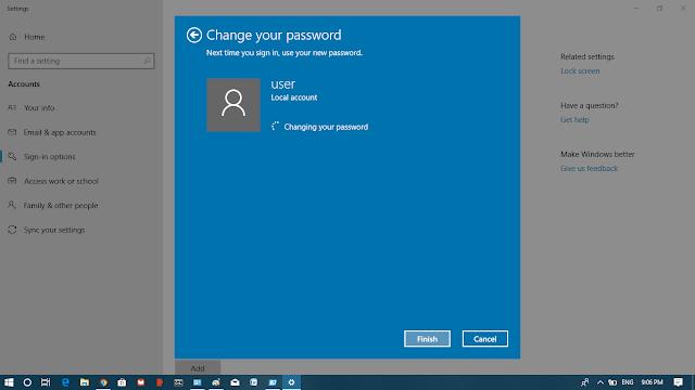 Windows 10 User Accounts Password