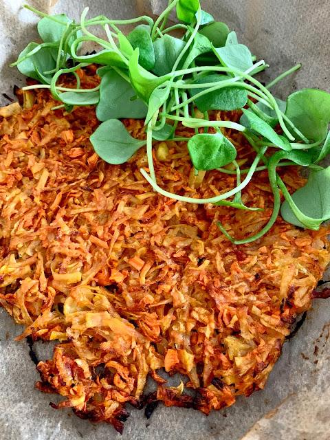 Gemüse-Rösti Rezept glutenfrei vegan Karoffeln, Möhren, Kohlrabi, Backofengericht, schnell, einfach