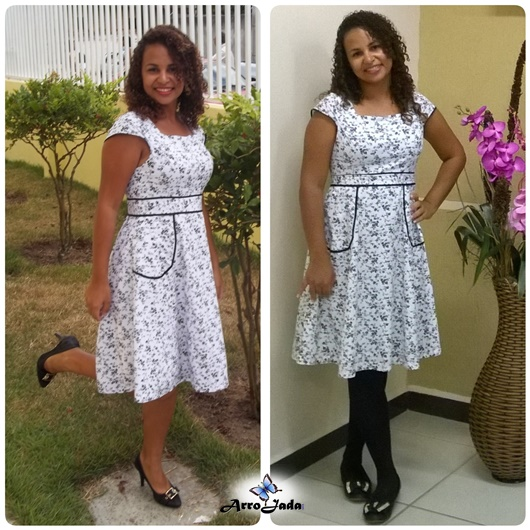 Vestido Rodado Evasê Floral Preto e Branco