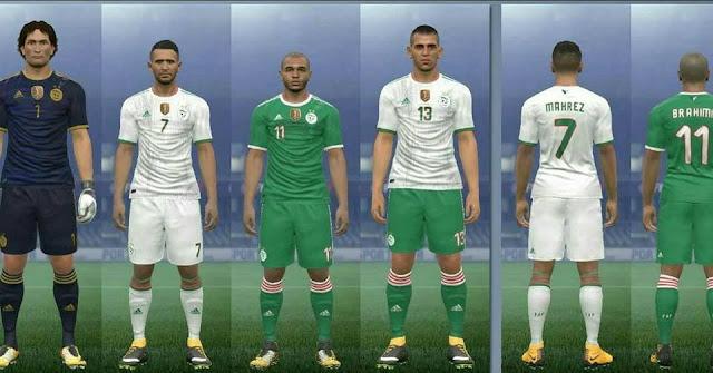 تحميل أطقم المنتخب الجزائري بنجمتين لبيس PES 2017 🔥🎁😍