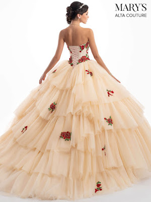 Dark Champagne/Red Color Mary's Quinceanera Ball Gown Design dress back side