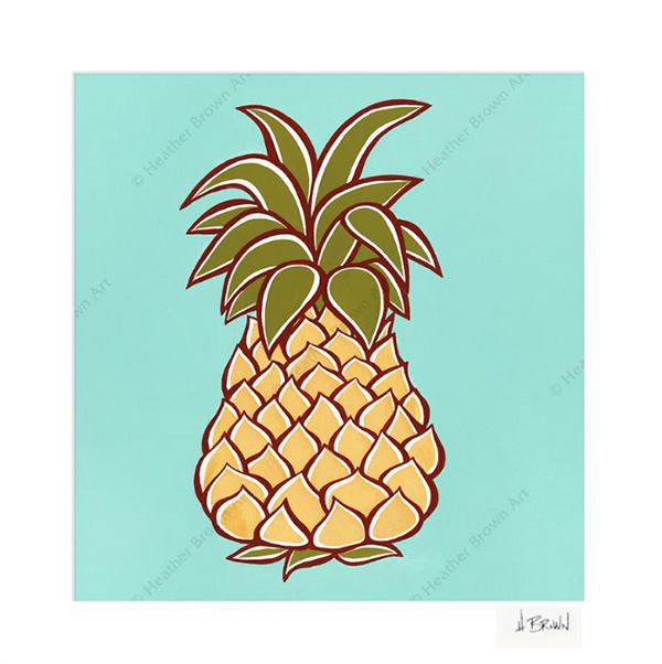 tropical pineapple art by heather brown