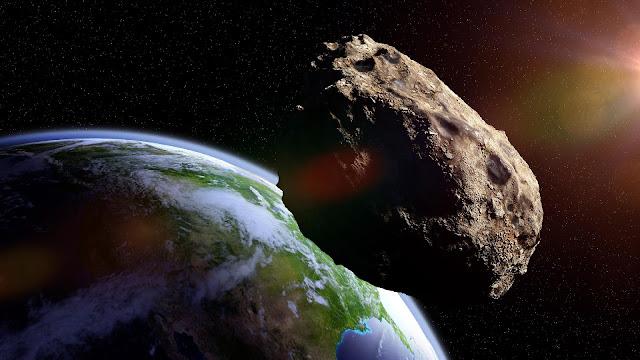 Ilustração de asteroide se aproximando da Terra