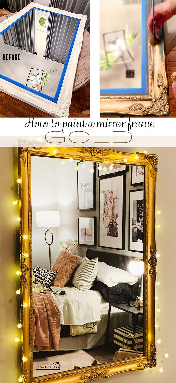 Gold painted mirror in Paris room