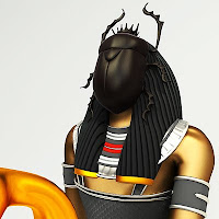 Illustration of the head and shoulders of the Egyptian god Khepri, who has a scarab beetle as a face