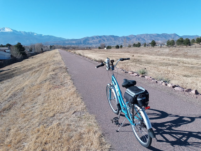 A view of Pikes Peak riding the Templeton Gap Trail