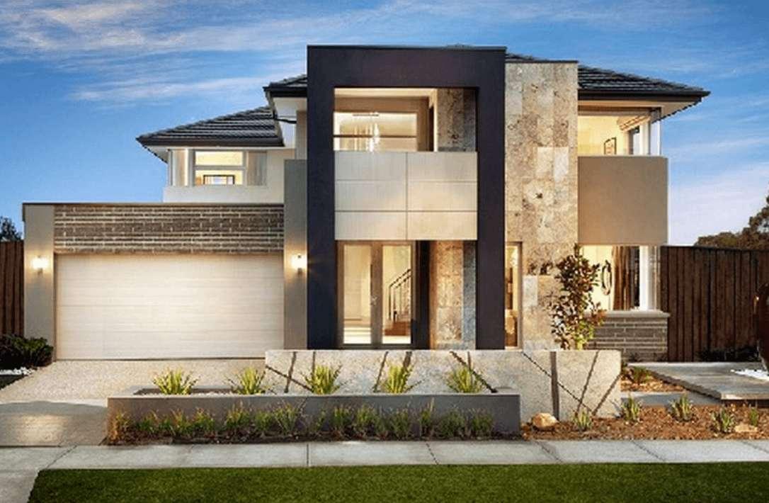 Model Desain Rumah Kontemporer 2 Lantai dengan Garasi Mobil Minimalis