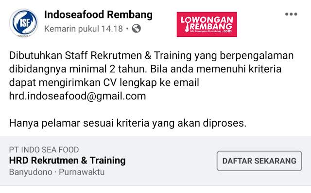 Lowongan Kerja Staff Rekrutmen&Training  PT Indo Sea Food Rembang