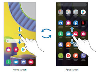 Switching between Home and Apps screens