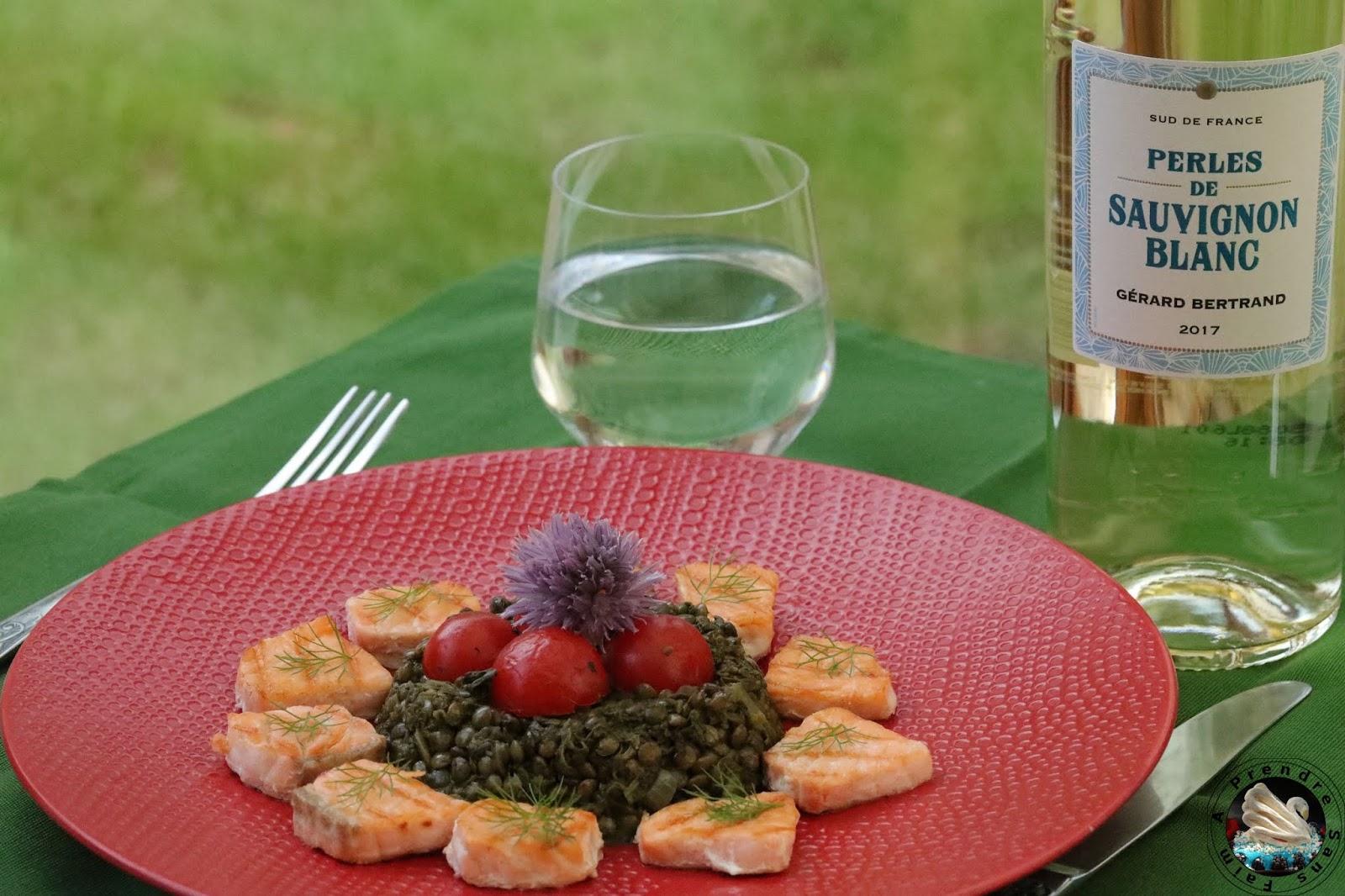 Lentilles vertes au saumon grillé