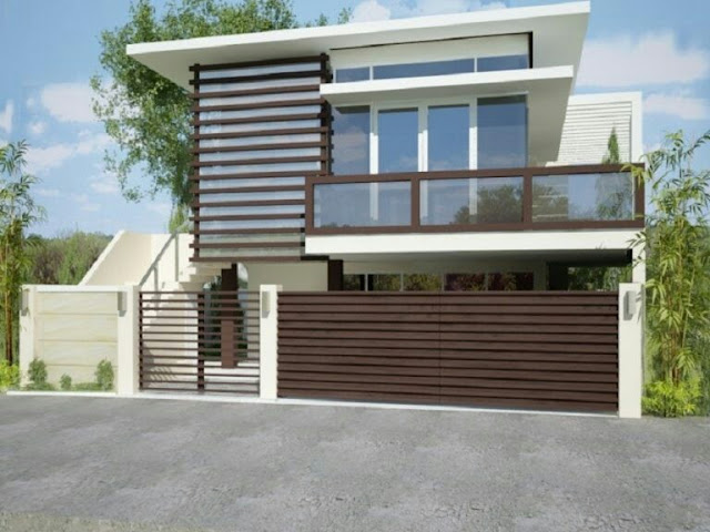 2-storey house with minimalist wooden fence