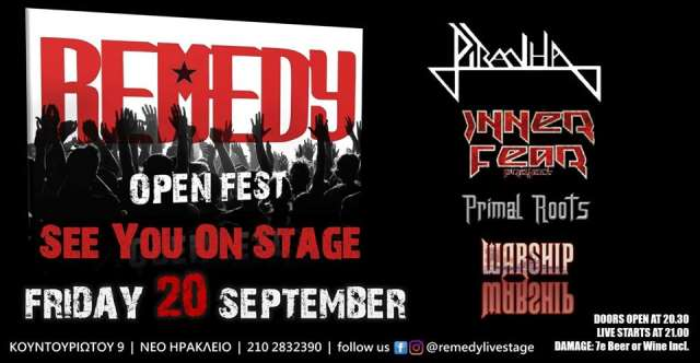 PIRANHA: Παρασκευή 20 Σεπτεμβρίου @ Remedy Open Fest