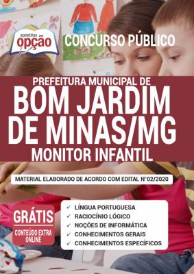 A Apostila Prefeitura de Bom Jardim de Minas - MG em PDF - Monitor Infantil - 2020 foi elaborada de acordo com o Edital 05/2020 do concurso, por professores especializados em cada matéria e com larga experiência em concursos.