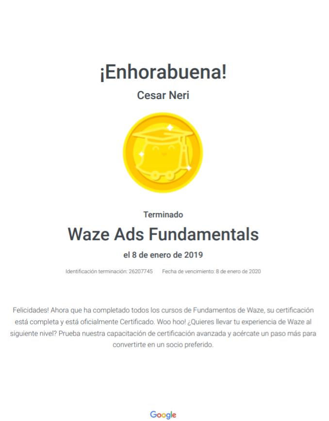 Certificate en WAZE