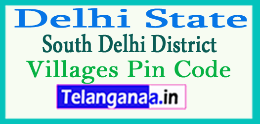 South Delhi Pin Codes in Delhi State