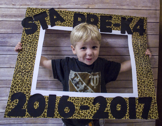 This was the easiest photo frame to make.  Use an X-Acto knife to cut a rectangle out of a poster board.  Line the poster board with cute duct tape.  Glue on pre-cut letters and VOILA!  Super cute Back to School/ 1st day of school pictures!