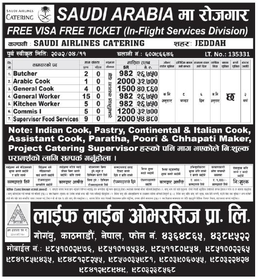 Jobs in Saudi Arabia for Nepali, Salary Rs 54,480