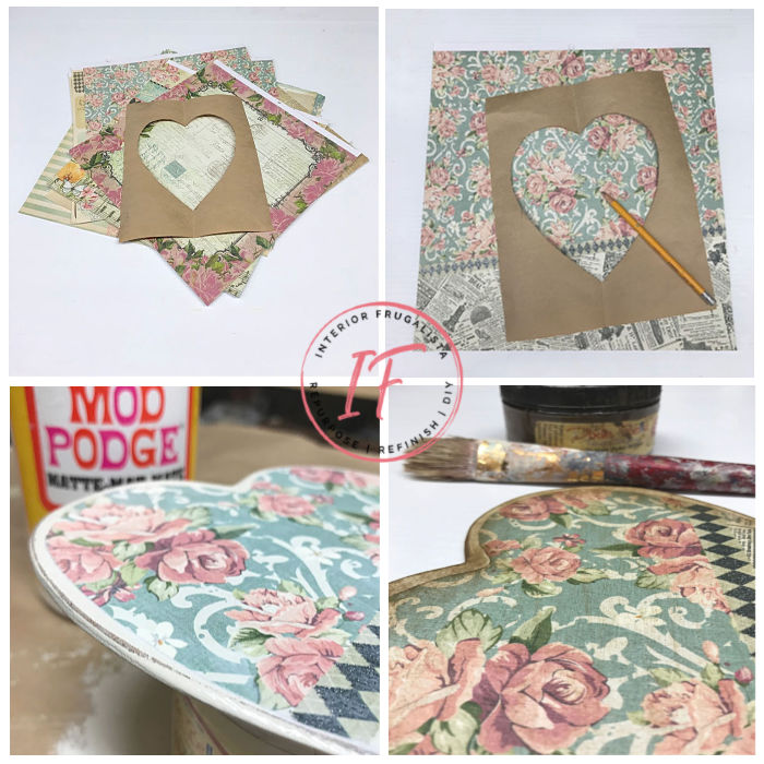 This feminine vintage-style door hanger is such an easy decoupage Valentine's day craft that could be displayed year-round or pretty wedding decor.
