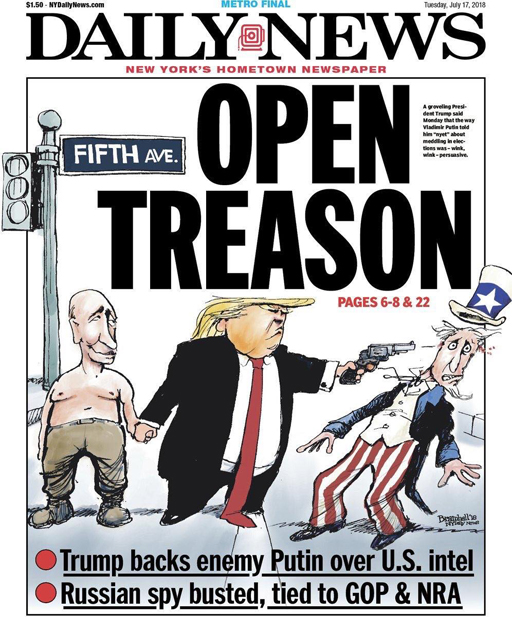 The New York Daily News pictures Donald Trump walking hand in hand with Russian President Vladimir Putin while shooting Uncle Sam in the face. Trump once bragged he could shoot someone in cold blood on 5th Avenue and not lose a single supporter.