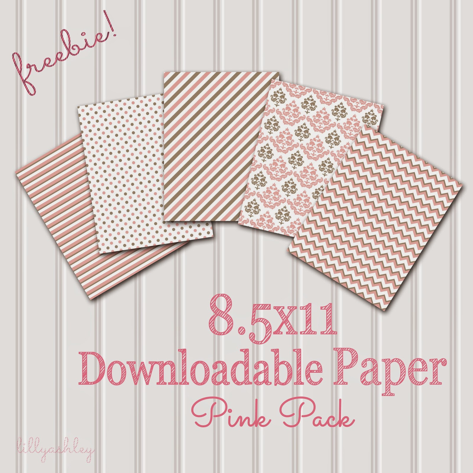 Pink Chevron Stripes Polka Dots Digital Scrapbook Free