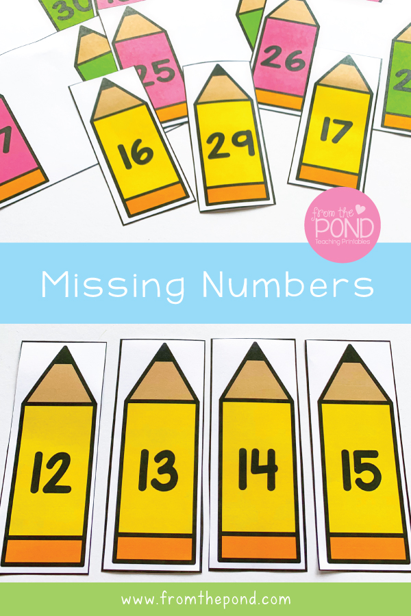 Missing Numbers Math Center First Grade
