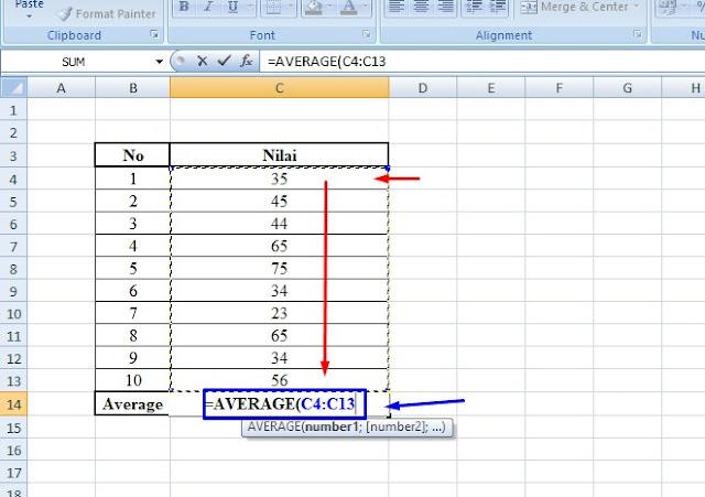 cara cepat mendapatkan nilai rata-rata di excel dengan menggunakan rumus average dalam mencari nilai rata-rata