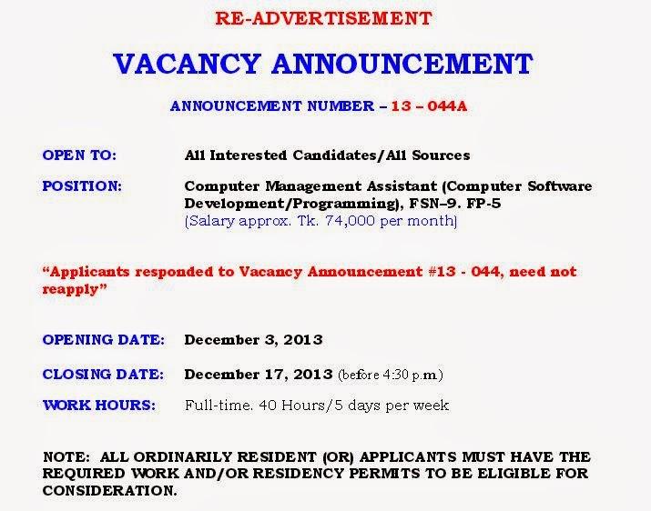 Job in us embassy dhaka