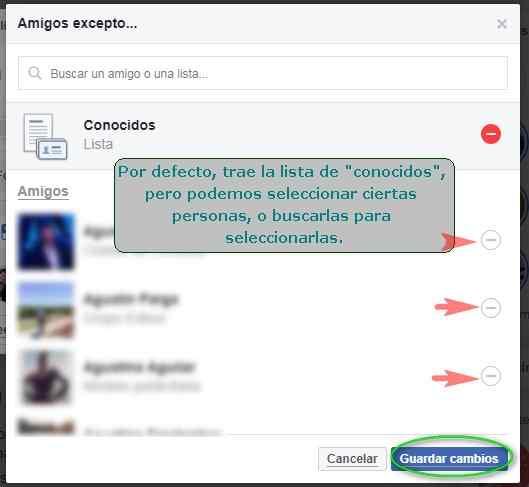 Privacidad: Amigos Excepto - MasFB