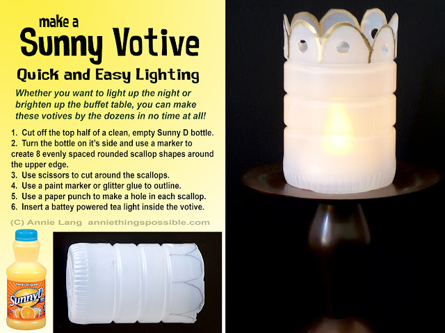 Annie Lang shares a DIY Votive Tealight Holder project made from a Sunny D Bottle
